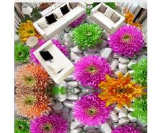 Lifme Personalizado Autoadhesivo Piso Mural 3D Flores Empedrado Plantas Pisos Pegatinas Baño Sala De Estar Pvc Impermeable Papel Pintado 3 D-150X120Cm