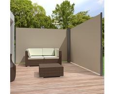 TecTake Toldo lateral doble separador retráctil terraza protección jardin De vivienda y de base postes completo de aluminio 160x600 beige