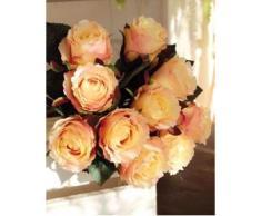 Ramo de rosas artificiales MOLLY con 10 rosas, amarillo-rosa, 35 cm, Ø 20 cm - Ramillete sintético / Flores decorativas - artplants