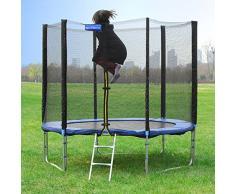 Songmics Cama elástica para jardín Trampolín de 244cm de diámetro con red de seguridad, escalera STR8FT