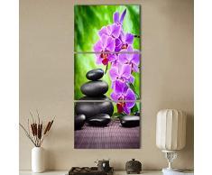 HTRHUA Pintura del Arte de la Lona del HD para la decoración de la Pared de la Sala de Estar 3 Pedazos de la Piedra púrpura de la Piedra del adoquín 60 * 80cm * 3pcs con el Marco