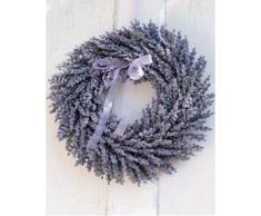 Corona de lavanda artificial en mimbre, violeta, Ø 40 cm - Corona sintética / Composición floral - artplants