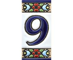 """Números casa. Numeros y letras en azulejo ceramica policromada, pintados a mano técnica cuerda seca. Nombres y direcciones. Diseño FLORES MINI 7,3 cm x 3,5 cm. (NUMERO NUEVE """"9"""""""