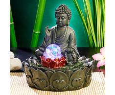 """infactory - Fuente de interior con iluminación, diseño de Buda en flor de loto"""", con bola de cristal"""