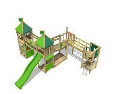 FATMOOSE juego infantil LuckyLord Large XXL de madera para el jardín, verde claro columpio, arenero