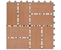 Tidyard 11 Unidades Suelo Exterior de WPC,Baldosas Terraza Exterior para Porche Patios Balcones Baños Piscina o SPA,Resistentes al Agua,30x30cm 1m² Marrón Olaro