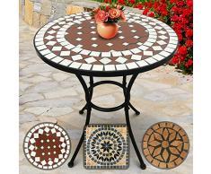 Nova - Mesa Mosaico Redonda - Ø/A: 60 x 70 cm, Robusta y Estable, Color Rojo y Blanco - Diseño a Elegir - Mesa de Exterior, de jardín, de balcón