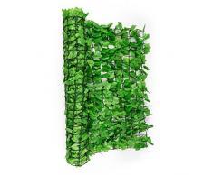 Blumfeldt Fency Dark Ivy valla de protección visual y anti viento (Malla sombreo 300x100 cm, cubierta exterior sombreadora, pantalla privacidad balcón terraza jardín, decoración imitación hiedra verde claro)