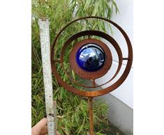 Zen Man para jardín (Acero Inoxidable óxido Jardín Cristal Bola de Escultura de jardín de Metal jardín Figure H115 * 15 cm Azul Oscuro 101582