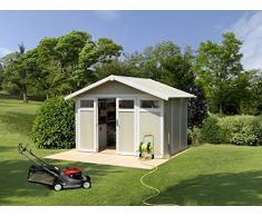 Caseta cobertizo resina jardin grosfillex utility 7.5 m2 color gris-verde claro