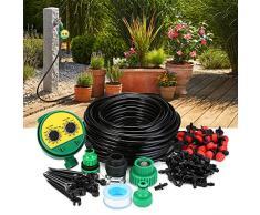 KINGSO Kits de Riego por Goteo, Sistema de Riego Automático DIY para Irrigación Riego Jardín Invernadero (30 Goteros con 25 Metros Manguera) Con Programador Electrónico