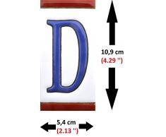 """Letreros con numeros y letras en azulejo de ceramica policromada, pintados a mano en técnica cuerda seca para placas con nombres, direcciones y señaléctica. Texto personalizable. Diseño USA MEDIANO 10,9 cm x 5,4 cm. (LETRA """"D"""")"""