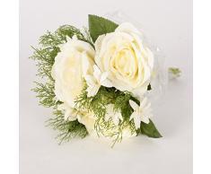 7 Ast por la flor artificial del ramo de Rose Novia que sostiene una flor para la decoración de la boda, blanco