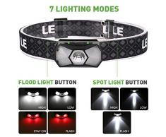 LE Linterna Frontal para Correr, Linterna LED Recargable por USB, 165 LM, 7 Modos de Iluminación, Faro Delantero para Camping, Pesca
