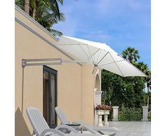 LJA Outdoor Parasol de Pared Parasol Balcón Vacaciones Jardín al Aire Libre Cantilever Sombrilla sombrilla inclinable con Poste de Metal (Color : White)