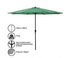 [casa.pro] Sombrilla Ø 300cm [Verde] con manivela Parasol para jardín, terraza, balcón Patio