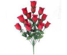SF fs - Arbusto artificial de rosas con 14 cabezales de flores, 44 cm, color rojo, amarillo, marfil, lila y rosa