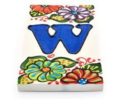 """Letreros con numeros y letras en azulejo de ceramica hechos y pintados a mano, para placas con nombres, direcciones y señaléctica. Texto personalizable. Diseño JARDIN 14,5 cm x 7 cm. (LETRA """"W"""")"""
