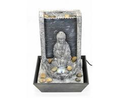 Fuente de Agua Decorativa con Luz Buda Sentado Esculturas Resina. Adornos. 22ø x 30 cm.