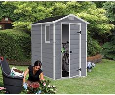 CASETA DE JARDÍN KETER | MANOR 4X6 S | COLOR GRIS | Caseta de jardín con suelo, sistema de ventilación, puerta y ventana. Lo mejor en casetas de resina.
