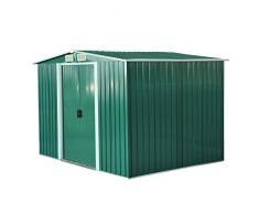 Cobertizo Metálica tipo Caseta de Jardín Terrazas Galvanizado Almacén para Herramientas Jardinería 246x192,5x177,5cm