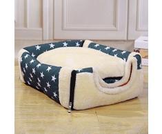 K.MAX patrón de estrella Nido para mascotas, suave y acogedor perro mascota nido cálido nido mascota algodón, Multifuncional plegable Cama Cómodo Casa Para Perro gato Mascota (S)