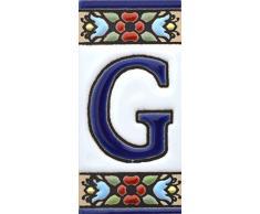 """Letreros con numeros y letras en azulejo de ceramica policromada, pintados a mano en técnica cuerda seca para placas con nombres, direcciones y señaléctica. Texto personalizable. Diseño FLORES MINI 7,3 cm x 3,5 cm. (LETRA """"G"""")"""