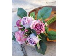 Ramo de rosas artificiales Mini-MOLLY con 8 rosas, violeta, 25 cm, Ø 15 cm - Ramillete sintético / Flores decorativas - artplants