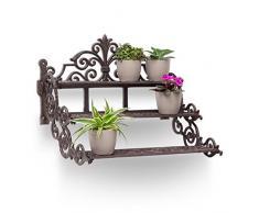 Relaxdays - Estante rectangular para plantas en forma de escalera, 36 x 42 x 31 cm, hierro fundido, carga máxima 10 Kg, macetas, flores, estantería 3 niveles, marrón oscuro / bronce