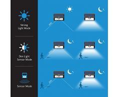 Mpow Foco Solar 20 LED Impermeable, 1500mAh Lámpara Luz con Sonsor de Movimiento para Jartín Casa Camino Escaleras Pared, IIluminación de Exterior y Seguridad
