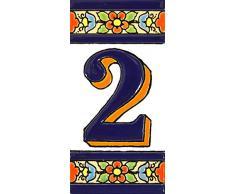 ART ESCUDELLERS Números casa. Numeros y Letras en azulejo Ceramica policromada, Pintados a Mano técnica Cuerda Seca. Nombres y direcciones. Diseño Flores Mediano 10,9 cm x 5,4 cm. (Numero Dos 2)
