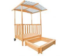 TecTake Arenero con techo para niños Veranda Madera Protección contra el sol azul