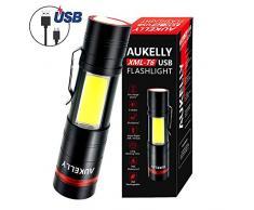 AUKELLY LED Linternas USB Recargable Alta Potencia LED Linterna Tactica Militar,Impermeable Cargador Linternas LED Militar,5 Modo,Zoomable,para Ciclismo,Camping,con 18650 Batería