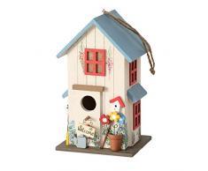 Casa Del Pájaro Casita Para Pájaros Azul Caja Nido Madera Decoración H26cm