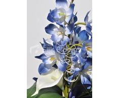 Color azul marino de la orquídea Cymbidium y marfil vela florero alto pantalla