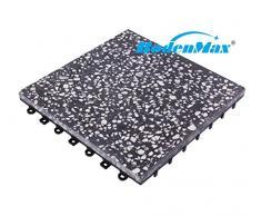 BodenMax® LLPLT001-BLK Terrazo 30x30cm Click Baldosa Set 30 cm x 30 cm Baldosa para la Terraza y Balcón Placas de Terrazo Baldosa de Encajar Color Negro-Blanco(8 piezas)