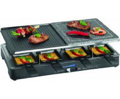 Clatronic RG 3518 Raclette Grill con Piedra Natural y Placa Reversible, 8 Personas, 1400W, 1400 W, Acero Inoxidable, Negro