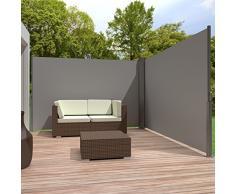 TecTake Toldo lateral doble separador retráctil terraza protección jardin De vivienda y de base postes completo de aluminio 200x600 gris