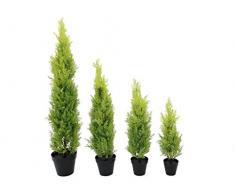 Ciprés artificial en tiesto decorativo, 120 cm – resistente a la intemperie - planta artificial / árbol sintético - artplants