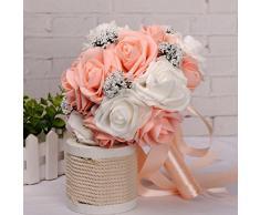 HLHN, colorido ramo de bodas de flores de seda artificiales, perlas para la decoración de oficina, hogar, escritorio, mesas, fiestas de jardín.