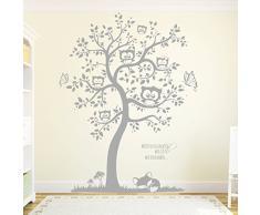"""Con diseño de búhos de pared pegatinas de pared para el árbol de Navidad con texto en lengua """"sabes de conejos como diseño de te de los"""" M1592, frutas del bosque, L - 110cm breit x 142cm hoch"""
