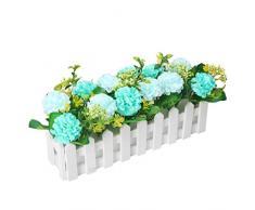 Flikool Hortensia Flores Artificiales con Valla Faux Hydrangea Plantas Artificiales con Macetas Simulacion Potted Bonsai Flor Artificial Hogar Adornos de Decoración Ornamento - Azul