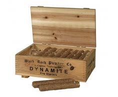 Kaminzubehör - Madera para chimenea y parrilla (en caja de madera decorativa), diseño de cartuchos de dinamita