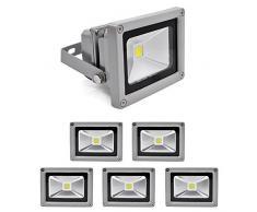 6 PCS Foco Proyector 10W, blanco frío - Foco de exterior LED. Proyector de Alta potencia (10W) y gran resistencia (IP65)