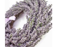 Set 2 x Corona de lavanda artificial en mimbre, violeta, Ø 40 cm - 2 unidades de Corona sintética / Composición floral - artplants