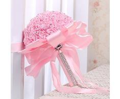fablcrew espuma artificial ramo de novia para novia Rose flores para damas de honor boda Decor, rosa, 26 x 22.5 cm