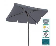 QUICK-STAR Sombrilla Quitasol Parasol para el balcón 2 x 1,25 m Rectangular con cenefa y dispositivo de pliegue Color Gris