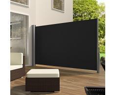 TecTake Toldo lateral de aluminio separador retráctil terraza protección De vivienda y de base postes completo de aluminio - disponible en diferentes colores y varias tamaños - (Negro | 160x300cm | no. 401525)