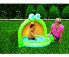 Babysun - Piscina infantil con paraviento, color verde, naranja y azul