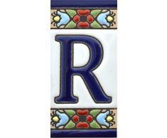 """Letreros con numeros y letras en azulejo de ceramica, pintados a mano en técnica cuerda seca para nombres y direcciones. Texto personalizable. Diseño FLORES MINI 7,3 cm x 3,5 cm. (LETRA """"R"""")"""